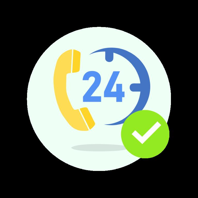 numero 24 con icono de teléfono