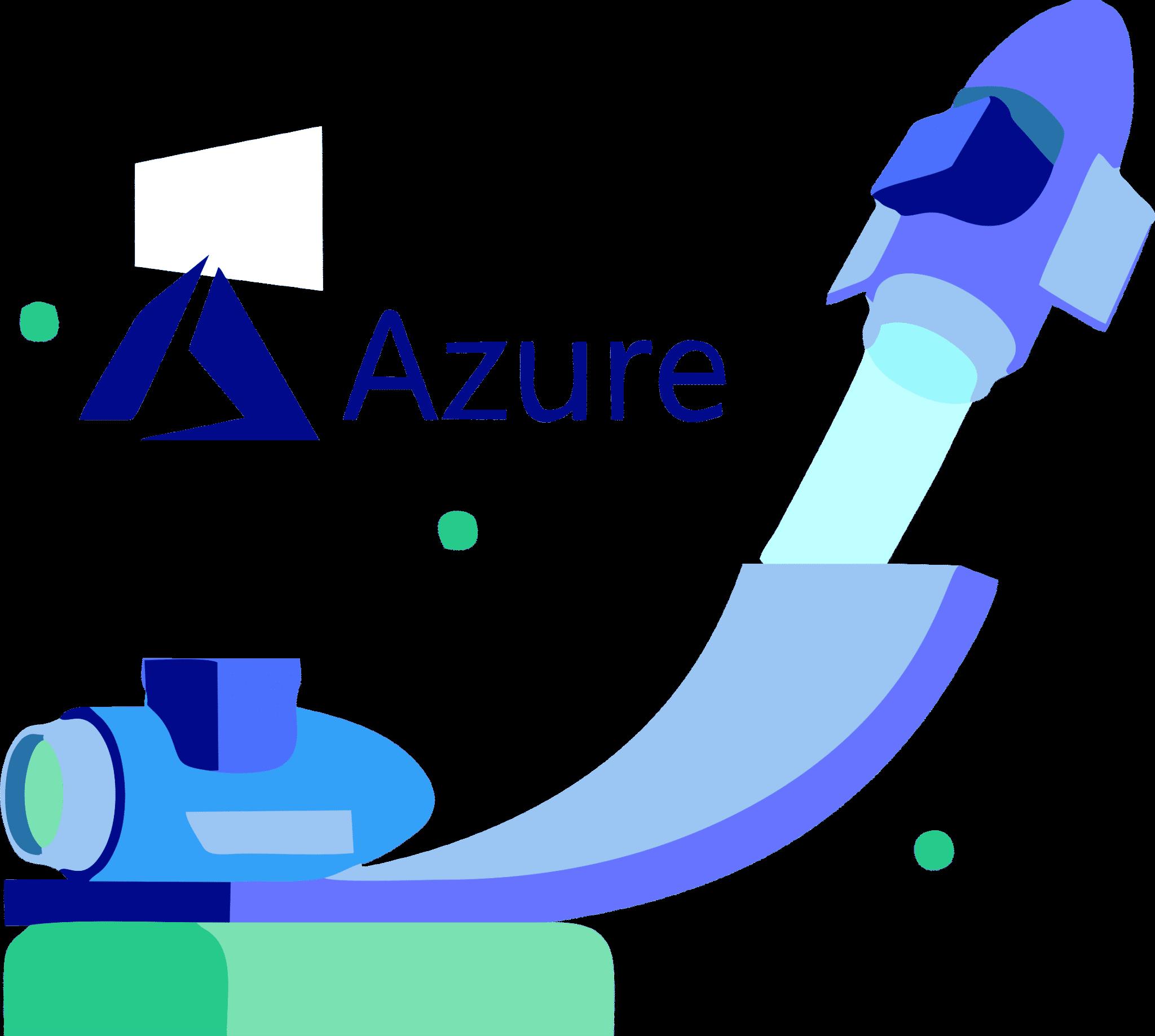 Cohete despegando desde una rampa hacia la nube con logo de Microsoft Azure