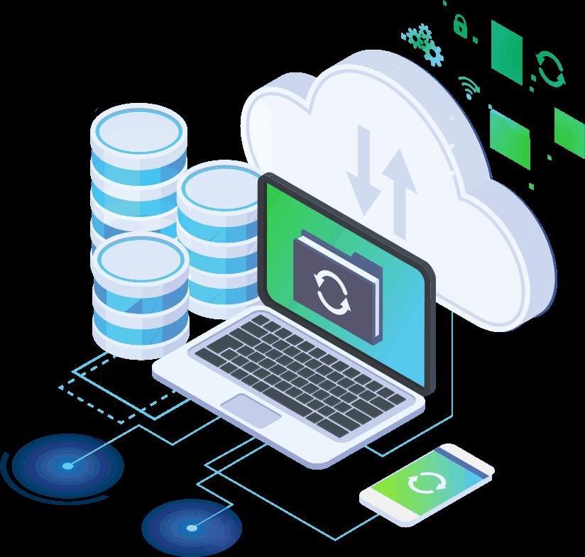 laptop subiendo información a la nube