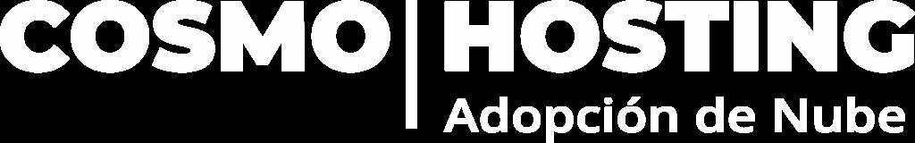 Logotipo oficial de COSMOHOSTING, con letras blancas