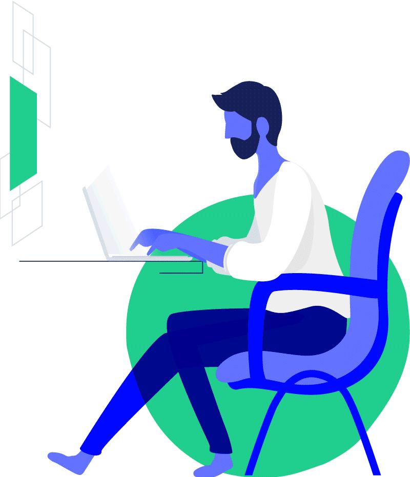 Joven sentado, trabajando cómodamente en un computador