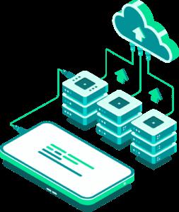 Dispositivo móvil conectado a servidores con servicios en la nube